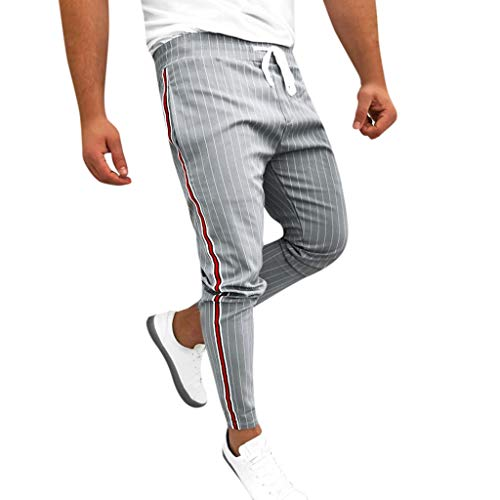 RAINED-Mens Jogger Track Pants Casual Striped Drawstring Sweatpants Athletic Hip Hop Pants Quick Dry Harem Pants Gray