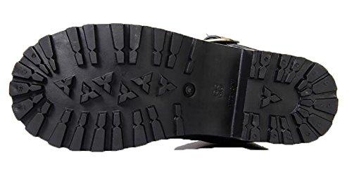 SYYUN Las mujeres 's Caucho Natural de la hebilla de la locomotora de charcos de lluvia bota negra Black