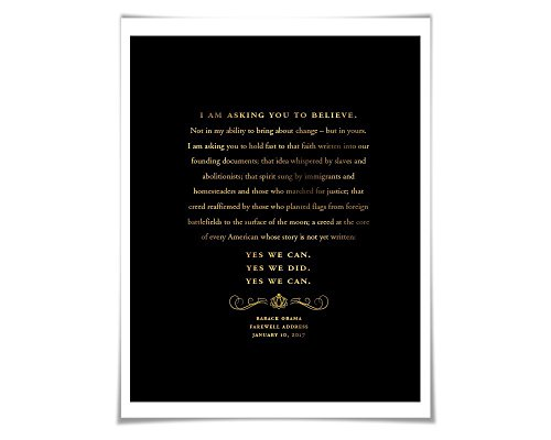 Barack Obama 2017 Farewell Address Speech Gold Foil Art Print. 36 Colours. Political Art. American History