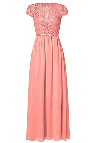 [Ssyiz Women's Vintage Floral Lace Cap Sleeve Long Chiffon Bridesmaid Evening Dress 12] (Floral Long Skirt Evening Gown)