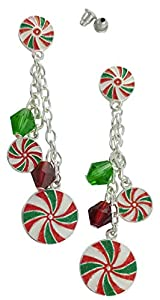 Fashion Earrings Christmas Fun Long Candy Swirl Holiday Earrings for Women and Girls | Silver Plated Studs