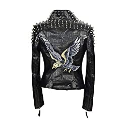Faux Leather PU Black Jacket With Eagle1 Design & Studded Rivet