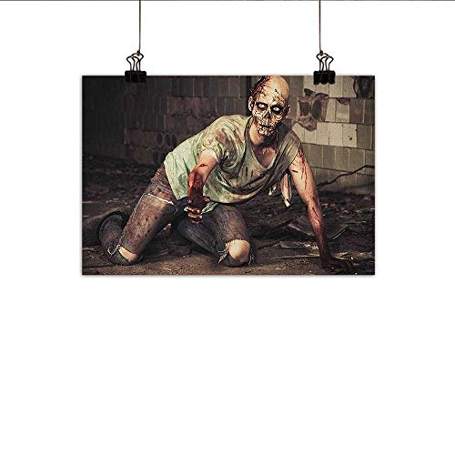 Zombie Wall Art Decor Poster Painting Halloween Scary Dead Man in The Old Building with Bloody Head Nightmare Theme Decorations Home Decor 24