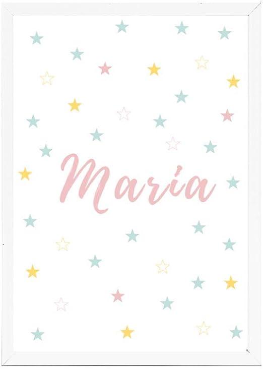 Lámina infantil 30x40 personalizada con el nombre de MARÍA. ideal decoración habitación, regalo nacimiento, bautizo. -Stars- Se envía desde España: Amazon.es: Hogar