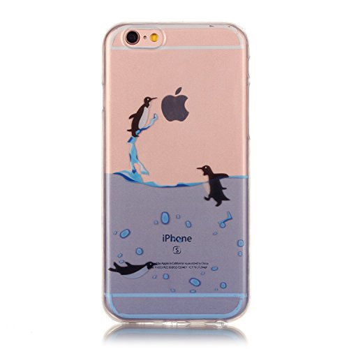 Custodia iPhone 6 Plus / 6S Plus , LH Pinguino TPU Silicone Trasparente Case Cover Cristallo Morbido Custodie per Apple iPhone 6 Plus / 6S Plus 5.5