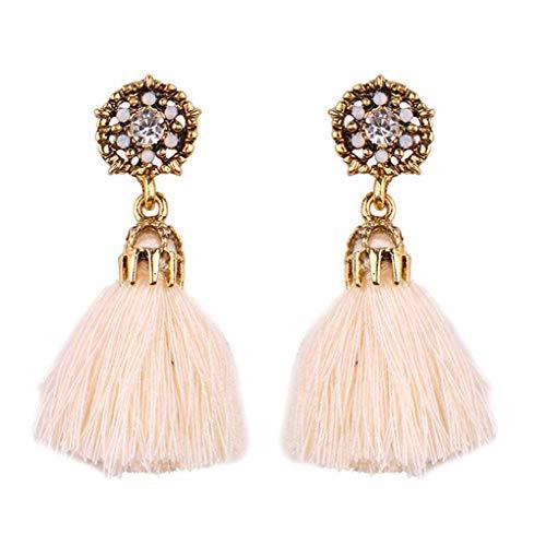 - Beaums 1 Pair Bohemian Vintage Long Drop Tassel Earrings Women Metal Hollow Out Rhinestone Ear Studs Girl Prom Ear Rings