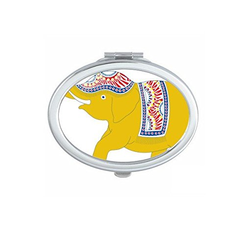 Kingdom of Thailand Thai Traditional Customs Culture Made in Thailand Yellow Elephant Shield Art Illustration Oval Compact Makeup Pocket Mirror Portable Cute Small Hand Mirrors by DIYthinker