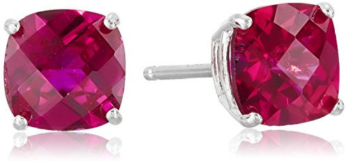 Sterling Silver Cushion-Cut Checkerboard Created Ruby Stud Stud Earrings (6mm) (Ruby Cushion Cut)
