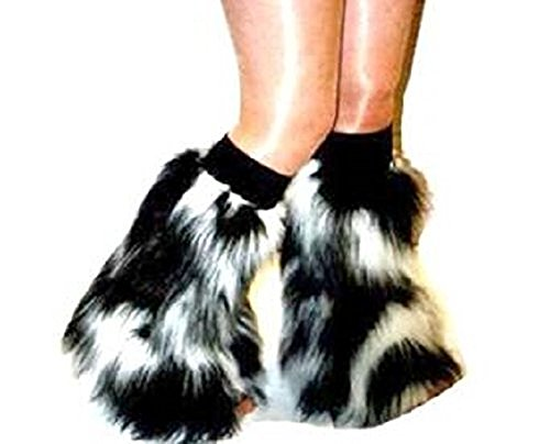 [White Black Fluffy Furry Boot Covers Legwarmer Party Rave Clubwear Christmas Made in England] (Furry Rave Boots)
