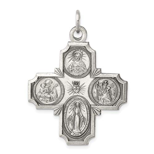 Four Way Cruciform Cross Charm In Antiqued 925 Sterling Silver 35x30mm ()