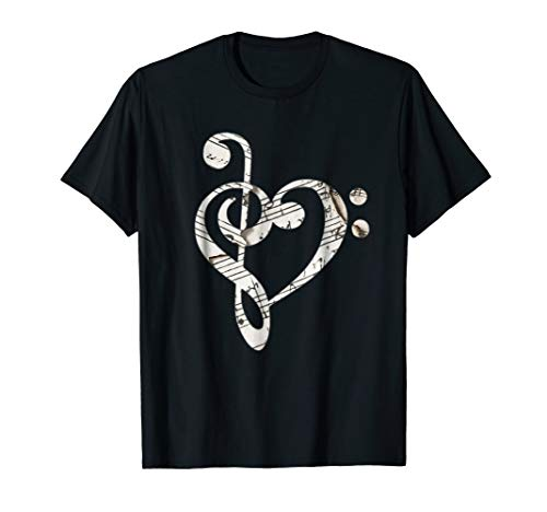 - Heart Bass Clef T-Shirt Musical Note Shirt