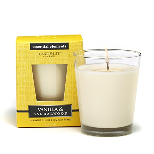 Sandalwood Jar Candle - Candlelite Essential Elements 9-Ounce Boxed Jar Candle with Soy Wax, Vanilla and Sandalwood