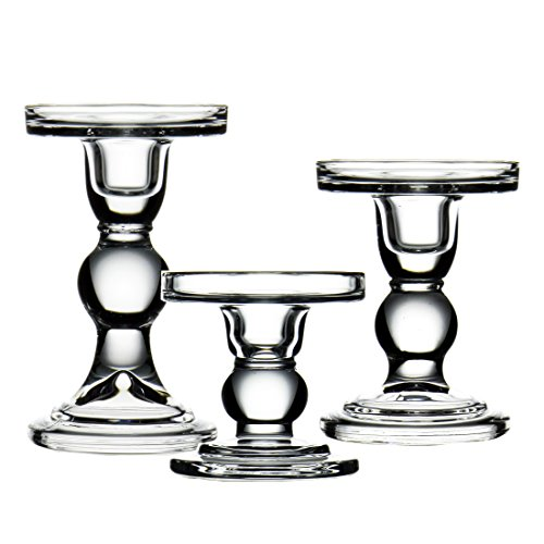 Crystal Pillar Candle Holder (CYS EXCEL Candle Holder Set for Pillar and Taper Candles Bubble Set of 3 PCS - (H-3.5