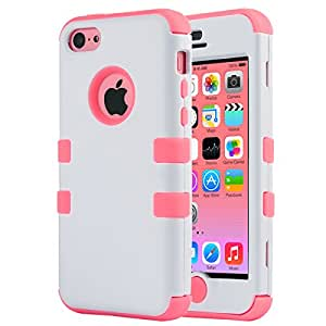 iPhone 5C Case, iPhone5C Case, ULAK Shockproof Hybrid Heavy Duty Dual Layer High Impact Protection Case Cover for Apple iPhone Apple iPhone 5C-White + Coral Pink