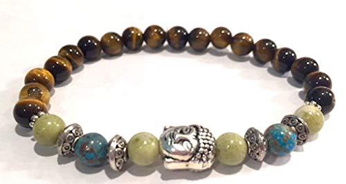 (Handmade Buddha Head Peridot Jasper, Natural Crazy Blue Lace Agate and Tigers Eye Healing Bracelet 7 Inches)
