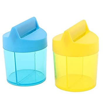 DealMux Plastic Office Student forma redonda Paper Clip Dispenser Titular Box 2pcs Azul Amarelo