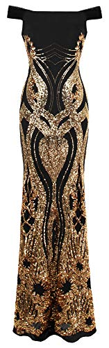 Angel-fashions Women's Off Shoulder Gold Floral Pattern Sequins Column Sheath Evening Gown Small