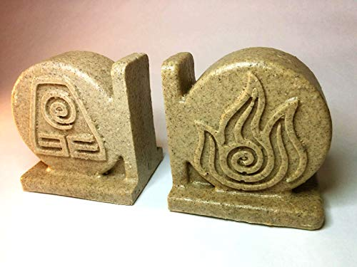(Avatar: The Last Airbender Bookend Set Earth, Water, Air, Fire Elements and benders (Double Sided) Coaster Holders)