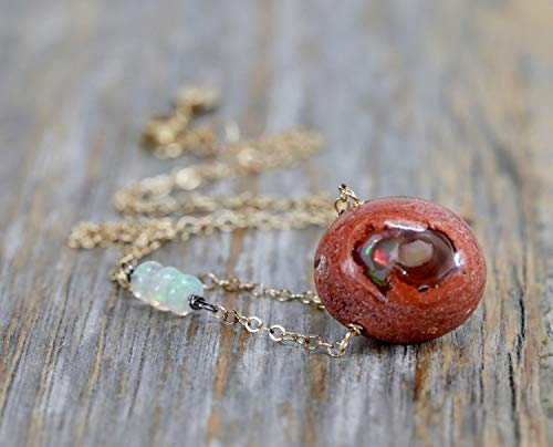 Natural Mexican Cantera Fire Opal Pendant Necklace- Sterling Silver- Mixed Metal- 18