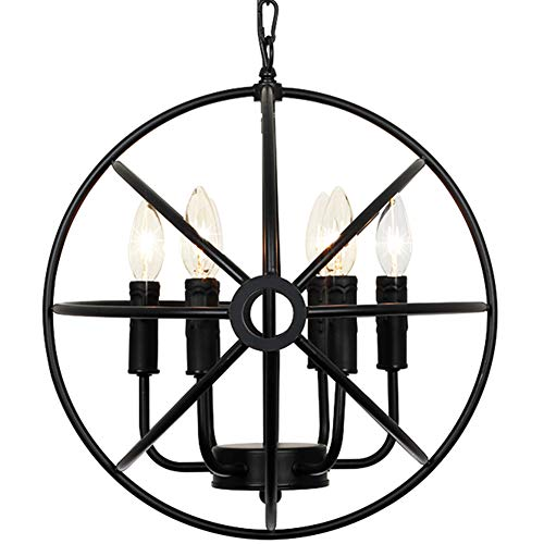 Lampundit 6 Light Indoor Chandelier 16.6 Rustic Metal Pendant Light Matte Black Finish Industrial Ceiling Hanging Light Fixture for Kitchen Island Dining Living Farmhouse