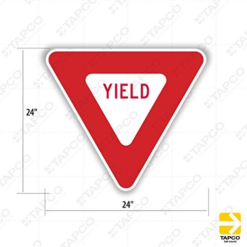 (Tapco R1-2 Engineer Grade Prismatic Triangular Standard Traffic Sign, Legend