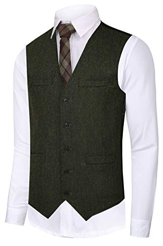 Hanayome Men's Slim Fit Classic Tweed Suits Vest Premium Wool Blend Waistcoat(SI167/S)