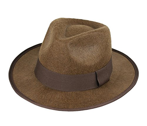 Deluxe Felt Gangster Hat - Adult's Brown Gangster Deluxe Felt Fedora Indiana Jones Steampunk Hat