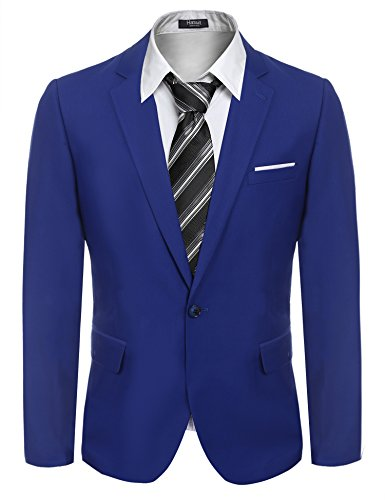 Cotton Blend Blazer (Hasuit Men's Casual One Button Cotton Blend Blazer Jackets)