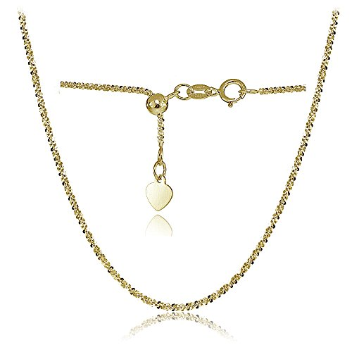 Bria Lou 14k Yellow Gold 1.3mm Italian Rock Rope Adjustable Chain Anklet, 9-11 Inches by Bria Lou