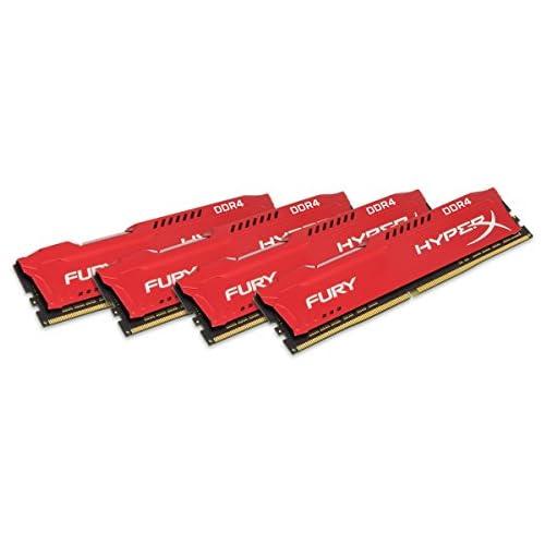 chollos oferta descuentos barato HyperX Fury Memoria RAM de 64 GB DDR4 Kit 4 x 16 GB 2933 MHz CL17 DIMM XMP HX429C17FRK4 64 Color Rojo
