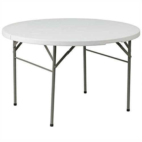 60.5'' Round Bi-Fold Granite Folding Table in White + Expert Guide by Support Haalpy