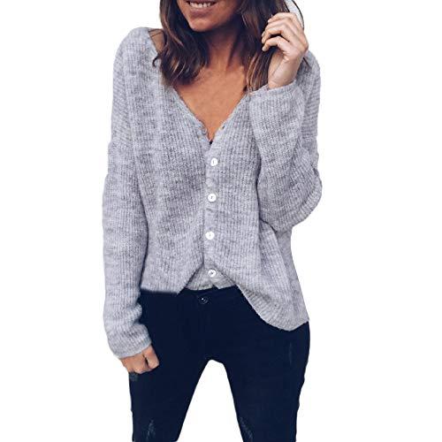 Sherostore ♡ Women's V-Neck Solid Button Down Knitwear Soft Basic Long Sleeve Knit Snap Cardigan Sweater Gray
