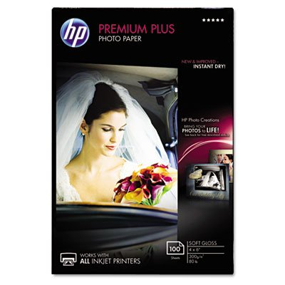 Premium Plus Photo Paper, 80 lbs., Soft-Gloss, 4 x 6, 100 Sheets/Pack, Sold as 100 Sheet