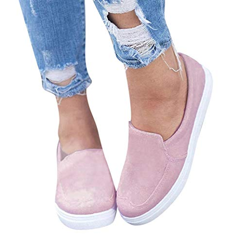Photno Women's Comfortable Large Size Suede Shallow Mouth Casual Shoes a Pedal Lazy Shoes Pink