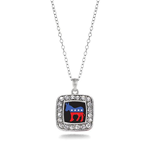 Inspired Silver Pro Democrat Donkey Charm Classic Silver Plated Square Crystal (Silver Plated Square Necklace)