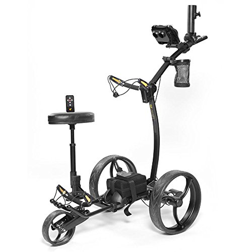 Bat-Caddy X8R Remote Control Cart with Accessory Kit Scorecard Holder, Cup Holder, and Umbrella Holder, All Black Frame