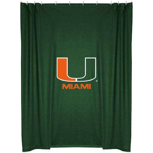 Miami Hurricanes COMBO Shower Curtain & Valance Set - Decorate your Shower and Bathroom Window & SAVE ON BUNDLING! by Sports Coverage