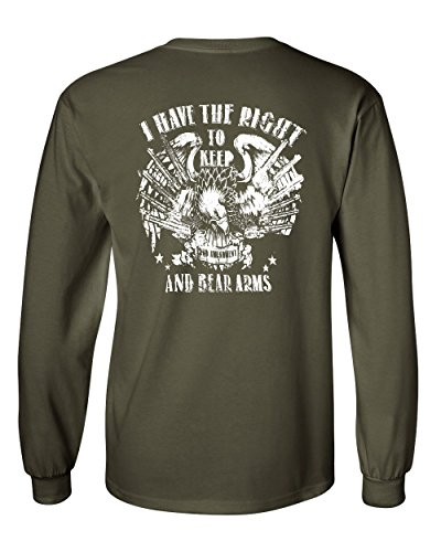 - 2nd Amendment Long Sleeve T-Shirt Keep and Bear Arms Gun Rights Military Green 3XL
