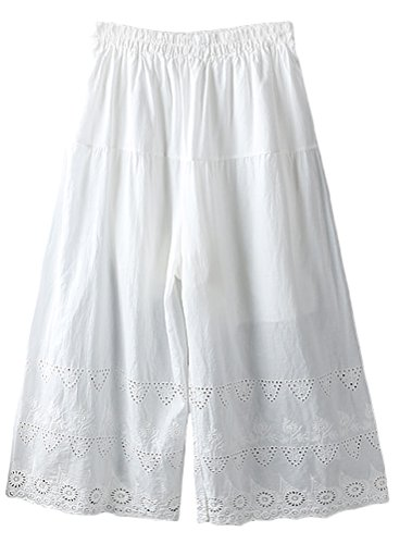 Mordenmiss Women's Cotton Low Rise Wide Leg Elastic Pants White Weekend Cotton Pleated Pants