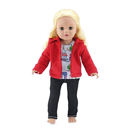 18-inch-doll-clothes-hooded-fleece-jacket-outfit-with-pockets-includes-black-stretch-skinny-jeans-an