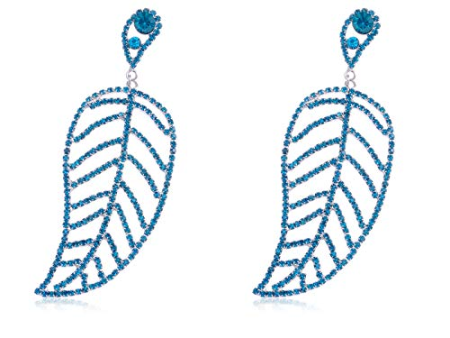 Austrian Sea Green Sapphire Sky Blue Crystal Large Round Leaf Drop Earrings New