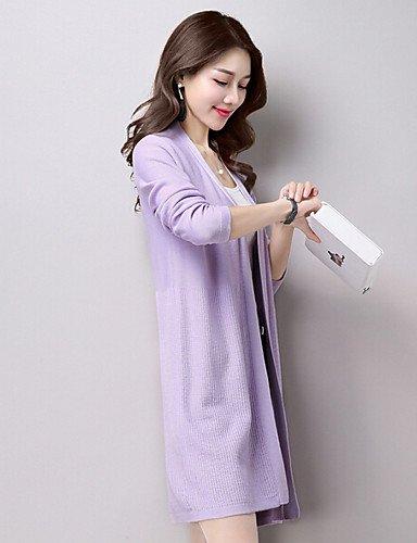 Lavender Solide V-ausschnitt Frühling Baumwolle Lila Schwarz Beige Strickjacke-formal Lang Damen Einfach Dünn Langarm Sommer Desy Grau Rosa Acryl