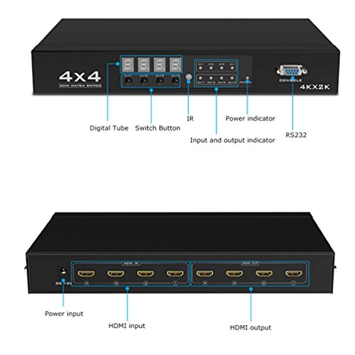 ES-Tune 4x4 HDMI Matrix Switch 2K X 4K HDMI Splitter Selector 4 in 4 out Support Panel/ IR Remote Control / RS232 switch by ES-Tune (Image #2)