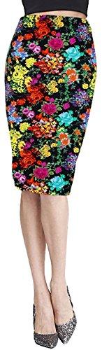 [Magic Boxs Women Cotton Blend Pencil Tube Multi Pattern Midi Skirt] (Blend Pencil Skirt)