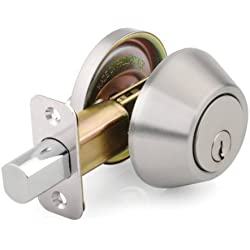 Mountain Security Deadbolt Single Cylinder, Stainless Steel