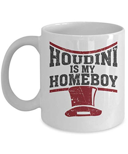 (Houdini Is My Homeboy Magician's Hat Coffee & Tea Gift Mug, Kitchen Items, Accessories, Party Favors, Supplies, Décor, Merchandise And Birthday Gifts For Magic Lover & Magician)