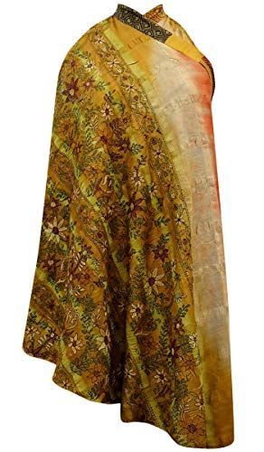 Indianbeautifulart Les Femmes Check Imprimer Pure Soie Vintage Saree rversible Rouge Wrap Summer Beach Dress Jaune