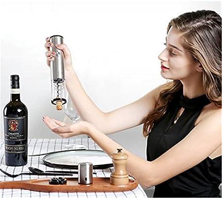CHENSHJI Sacacorchos automático Abre de Vino eléctrico Recargable automático sacacorchos de cacerolero abrelatas de Botella de Vino y Cable de Carga USB (Color : Silver, Size : One Size)
