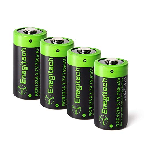 (CR123A Rechargeable Lithium Batteries - Enegitech RCR123A Li-ion Battery 3.7V 750mAh 4 Pack for Arlo Camera(VMC3030/VMK3200/VMS3330/3430/3530) Flashlight Security)