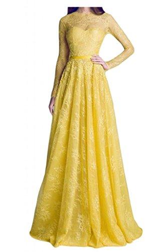 Toscana de novia de encaje de satén por la noche de ensueño Rueckenfrei larga mangas vestidos de madrinas vestidos de fiesta de largo